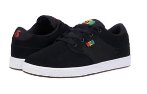 Black/Rasta Textile Skate Shoes