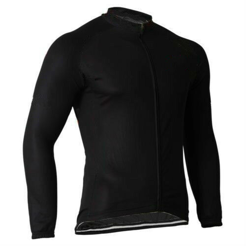 Black Long Sleeve Cycle Jersey Full Zip Men/'s Bike Bicycle Cycling Shirt Top