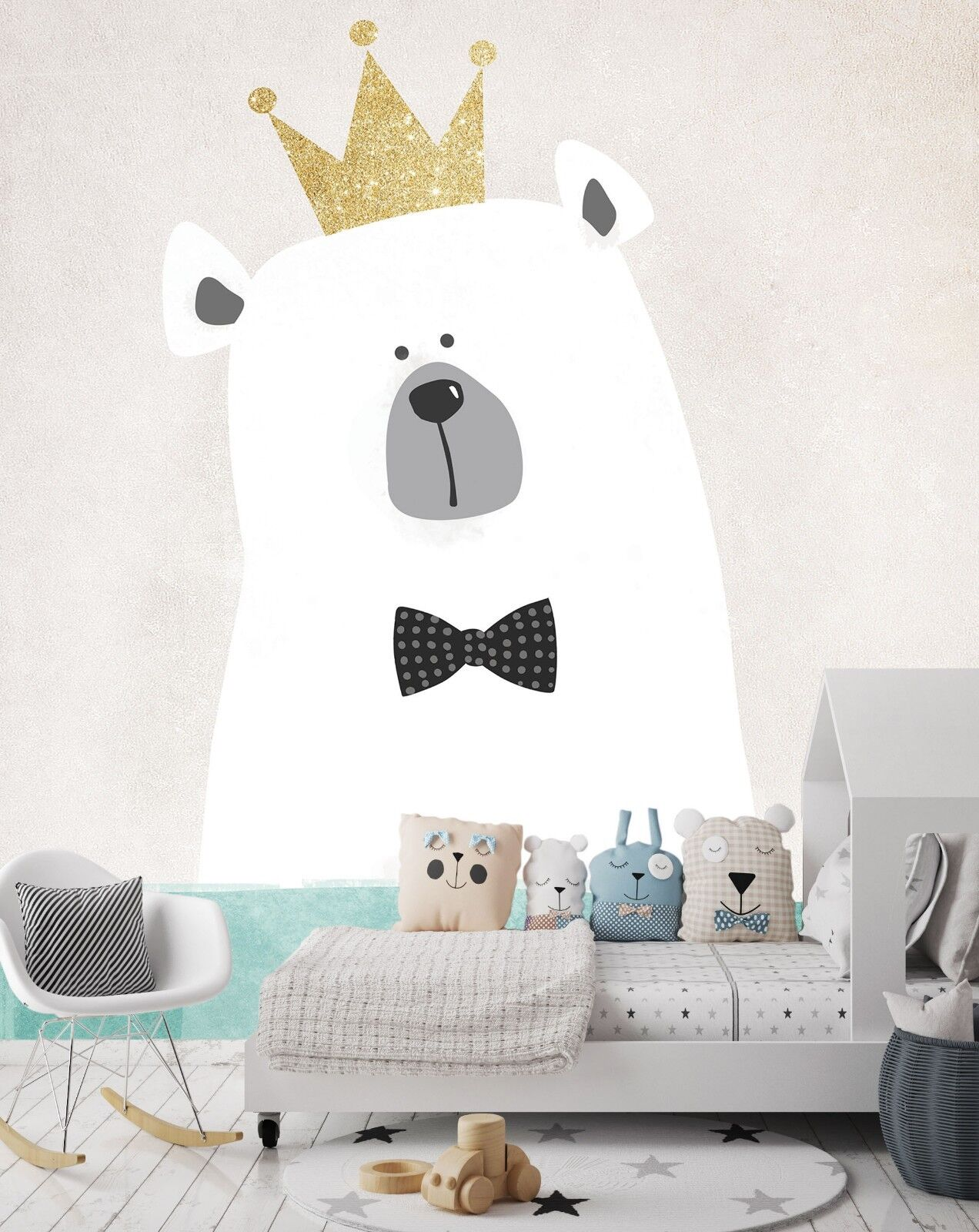 3D Crown White Bear 42 Wallpaper Murals Wall Print Wall Mural AJ WALLPAPER UK