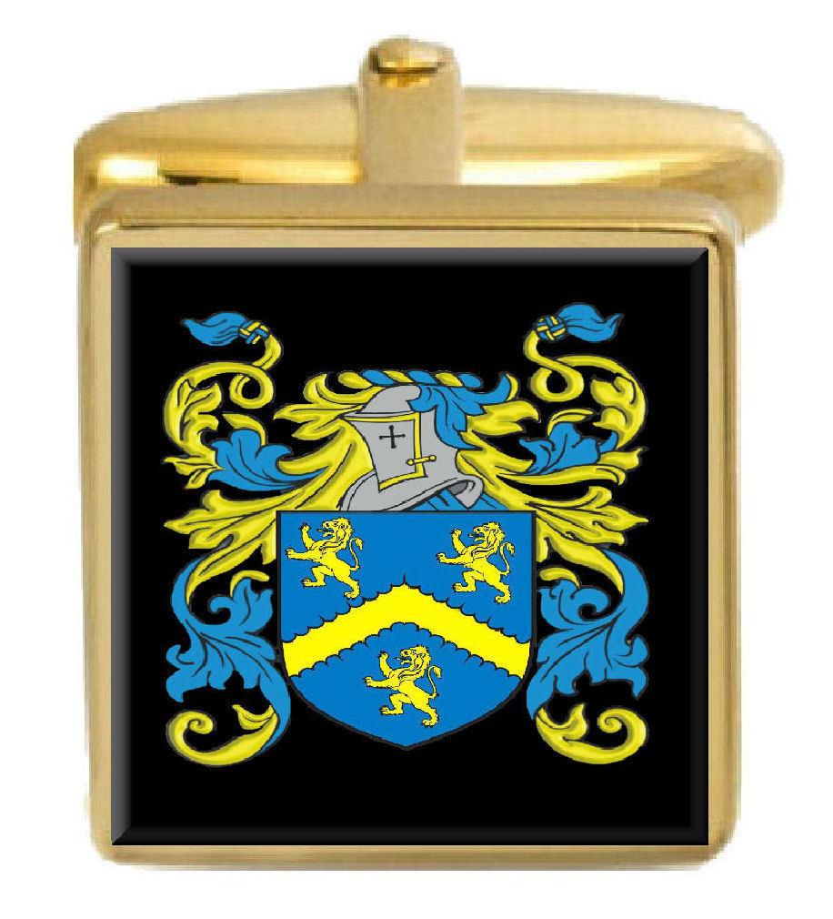 Clarke Inghilterra STEMMA DI FAMIGLIA cognome STEMMA Gemelli Gemelli Gemelli in oro incisi BOX 89fec9