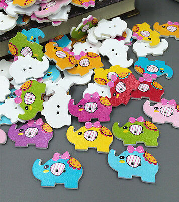Free MIX Elephant Pattern Wooden Buttons Fit Sewing and Scrapbook 30mm