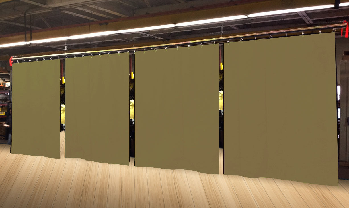 Lot of (4) Economy Tan Curtain Panel Partition 10 H x 4½ W, Non-FR