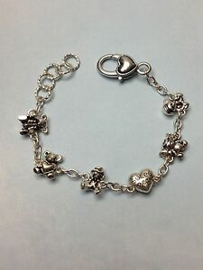 TEDDY BEAR mixed CHARM SILVER BRACELET w/ HEART LOBSTER LOCK new n bag cute gift
