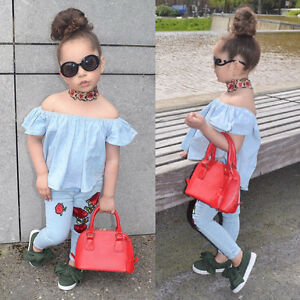 0f13a6098 Toddler Kids Baby Girl Off Shoulder Shirt Tops+Floral Pants Outfits ...