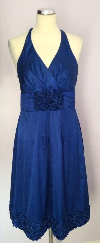 COAST blueE COTTON & SILK APPLIQUÉ TRIM DRESS SIZE 12