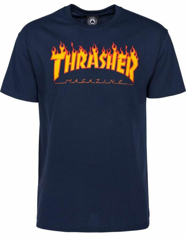 THRASHER FLAME T-SHIRT NAVY S