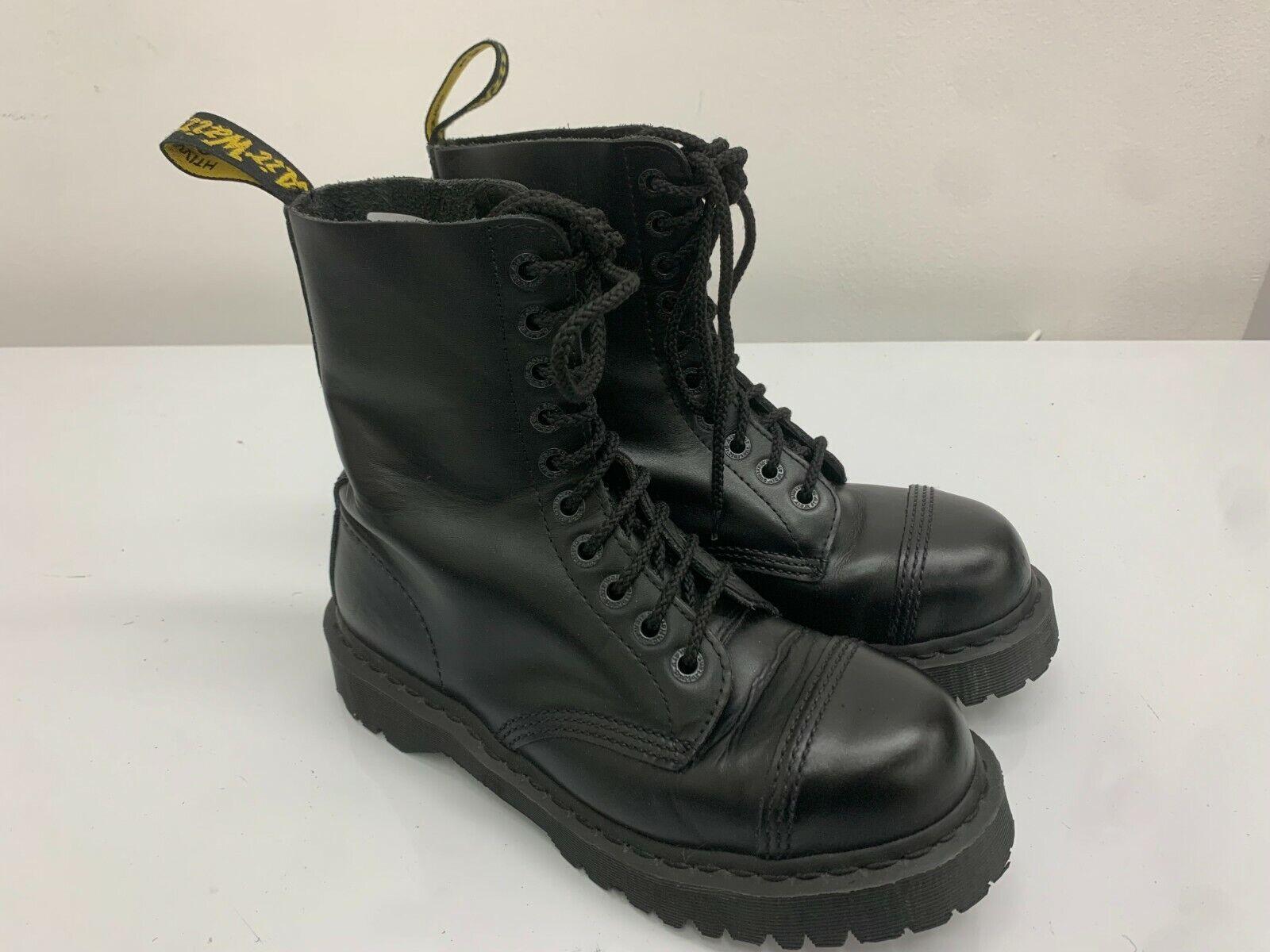 Doc Dr Martens Boots, 10 Eyelets, Black Shiny Leather, Size 7UK, Rare Big Toe