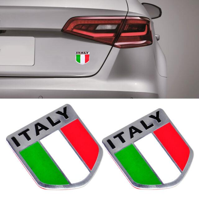 Auto Car Alu Schriftzug Aufkleber Emblem Fenders Für Italien Italy States Flagge