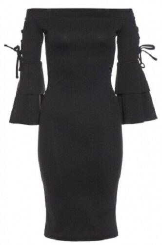 £25 EX QUIZ Black Lace Up Frill Sleeve Bardot Midi Dress UK Sizes 6-16