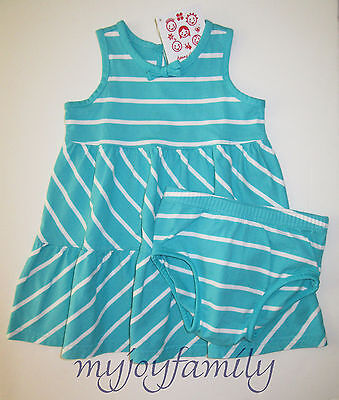 HANNA ANDERSSON Twirl Girl Dress Panty Set Storybook Blue Stripe 80 18-24 mo NWT