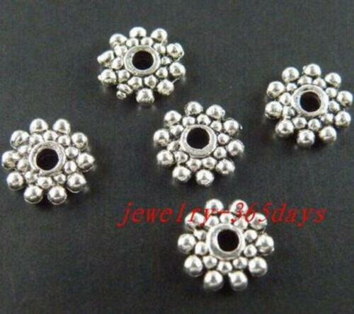 200 Tibetan Silver//Gold Color Daisy Spacer Beads 8x2mm 524