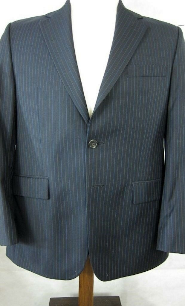 NEW Ralph Lauren Blau Pinstripe 4Season 2Button Wool Suit Dual Vents 38S