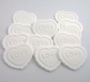 12-WHITE-LOVE-HEARTS-Edible-Cake-Cupcake-Decorations-Toppers-valentines-cake