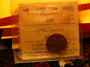 Extremely-Rare-Canada-1955-Non-Shoulder-Fold-NSF-Penny-Iccs-Certified-ID-T3