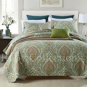 Vintage-Cotton-Quilted-Bedspread-Coverlet-Throw-Blanket-3pcs-Double-Queen-King