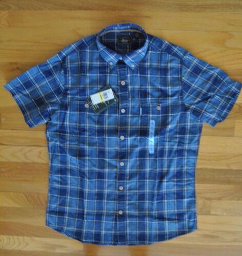Insignia Blue Plaid Cotton S//S Shirt Size L Large H BASS /& CO NWT Mens G