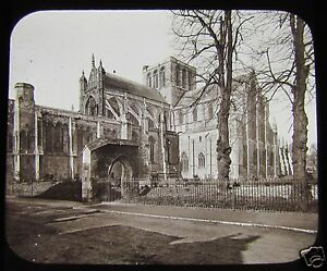 Glass-Magic-Lantern-Slide-WINCHESTER-CATHEDRAL-FROM-NE-C1900-ENGLAND-L101