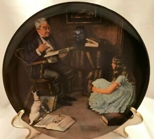Vintage-Norman-Rockwell-THE-STORYTELLER-Heritage-Collection-Plates-1984-Limited