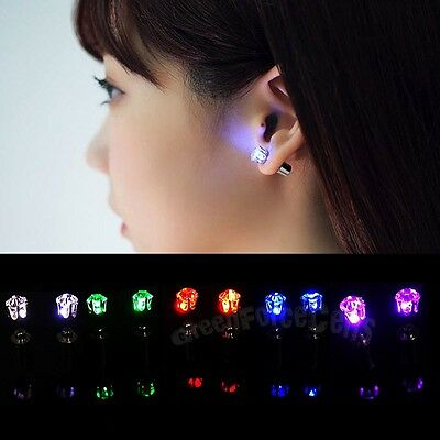 1PC Hot Light Up LED Bling Ear Studs Earrings Accessories for Dance Party