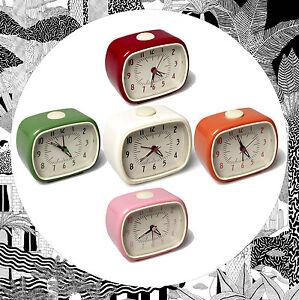 aa36e66876ecc9 Retro Alarm Clock VARIOUS COLOURS Red Orange Green Pink- Vintage ...