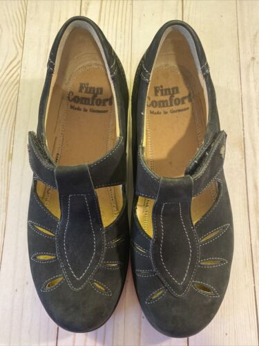 Finn Comfort Black Laval Leather Mary Jane Shoes W