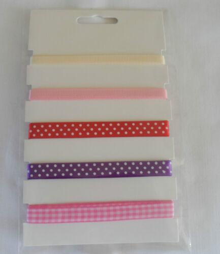 5 Metres Printed Plain Craft Ribbon Spot Gingham Pink Purple