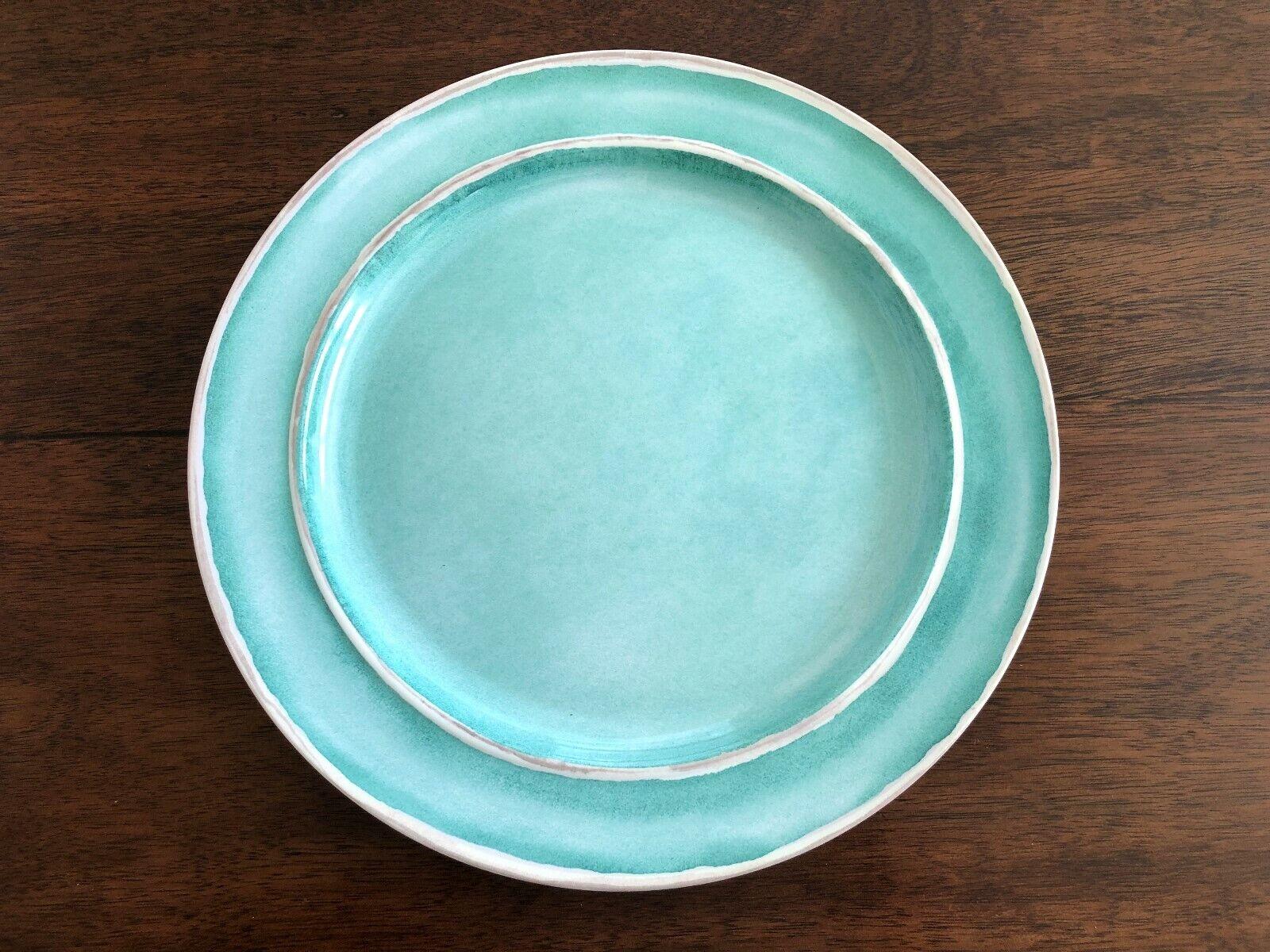 REAL SIMPLE Set of 4 MELAMINE 11  Dinner Plates AQUA GREEN Farmhouse NWT