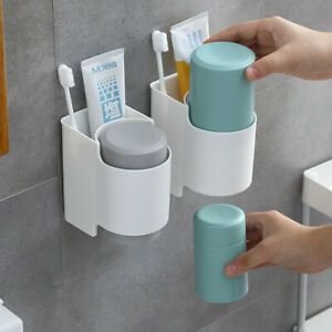 Wall-Mounted-Toothbrush-Tumbler-Holder-Cup-Stand-Bathroom-Shelf-Organizer-Rack