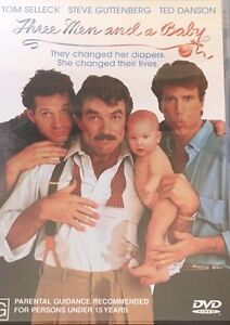 Three-Men-amp-A-Baby-Tom-Selleck-Ted-Danson-Steve-Guttenberg-Region-4-DVD-VGC