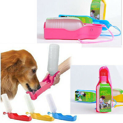 LOUS Portable Foldable Plastic Feeding Bowl Dog Cat Travel Pet Water Bottle