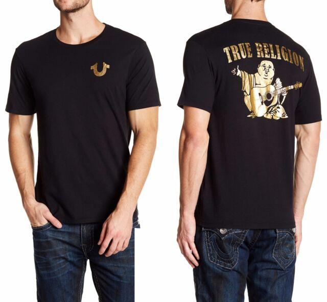 97bfba695ca1 TRUE RELIGION Gold Big Buddha Crew Neck T-Shirt in Black Sz.Large NWT