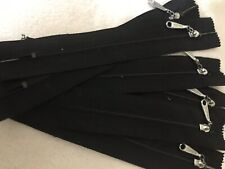 """Talon 5/"""" Pocket Zippers 100 Black Nylon coil with silver pull Closed ends."""