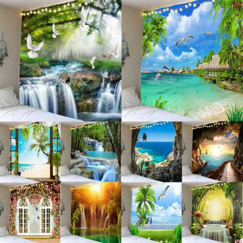 Hawaii Beach Scenery Tapestry Wall Hanging Hippie Tapestries Decorative Painting