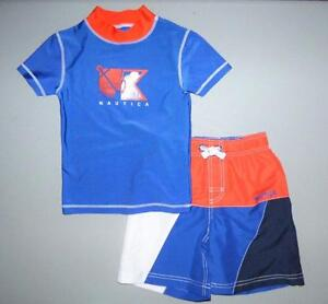 a7662ef3f7 NAUTICA Boys' 7, 7X Colorblock 2-Piece Rashguard Swim Trunks Set NWT ...