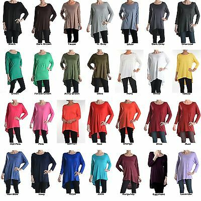 Women Scoop Neck 3/4 Sleeve Asymmetrical Hi-Low Hem Long Tunic Top Shirt Dress