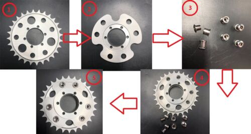 Gas Motorized Bicycle 48cc//66cc//80cc Disc Brake Rotor Adapter and 28T sprocket