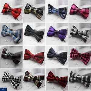 Mens Black Red Silver Black Dot Bow Tie Silk Pre-tied Bowtie Wedding Formal 3186