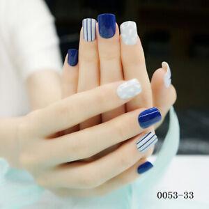 24-Pcs-blue-white-Glitter-Line-Short-Fake-Nails-Full-Cover-Nail-A-P