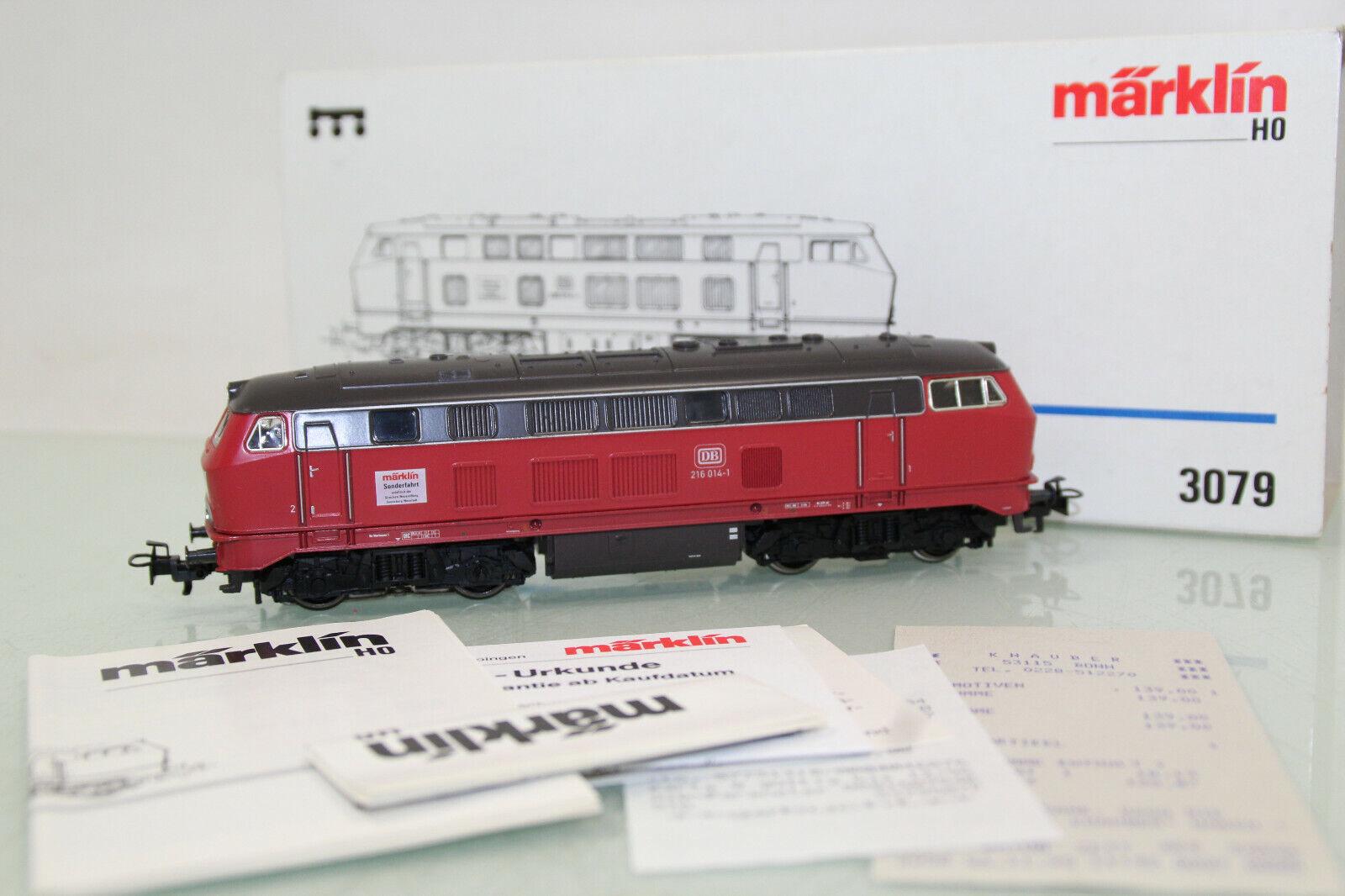 Märklin h0 3079 DIESEL BR 216 014-1 delle DB molto ben tenuto in scatola originale (cl3416)