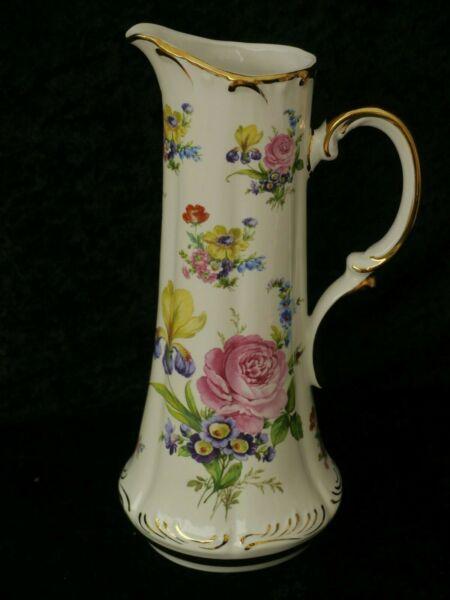 Begeistert Porzellan Wasserkaraffe 18karat Golddekor Blumenmuster Handbemalt Höhe 32 Cm