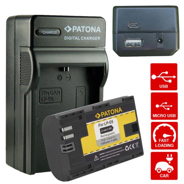 Chargeur de Batterie + LP-E6 1300mAh Infochip Canon EOS 70D Mark II Patona