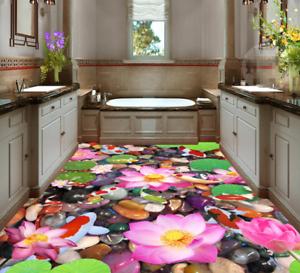 3D Pink Lotus Fish 4 Floor WallPaper Murals Wall Print Decal AJ WALLPAPER Summer