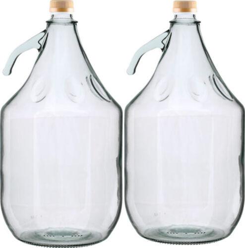 2 STÜCK Gärballon Flasche Glasballon Weinballon Glas Ballon  Glasflasche 3L NEU