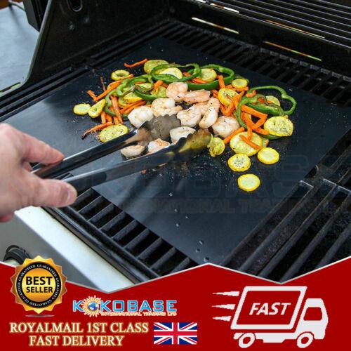 4x BBQ Grill Tappetino ANTIADERENTE FORNO rivestimenti in Teflon Cucinare Cottura riutilizzabile Foglio Pad