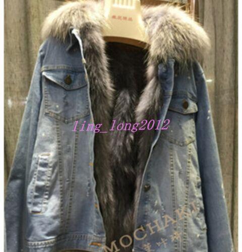 renard Denim de Parka veste manteau chaud femmes doublé Manteau lâche coréen court fourrure en w0t87p6xq