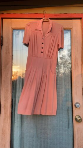 Vintage 1930s Rayon Crepe Button Front Day Dress P