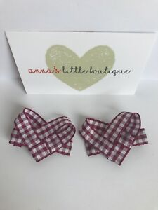 Handmade Girls Burgundy Bows Bling School Hair Bow Bobbles Sold In Pairs