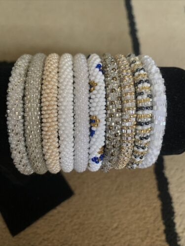 New 10 SET Nepal Rolls Glass Beaded bracelet crochet handmade bead bangle USA