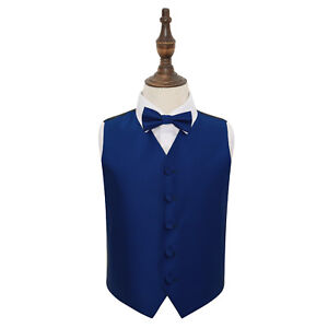 DQT-Woven-Plain-Solid-Check-Royal-Blue-Boys-Wedding-Waistcoat-amp-Bow-Tie-Set