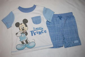 """Baby Boys MICKEY MOUSE """"LITTLE PRINCE"""" Shorts & T-Shirt  NB 0-3 3-6 6-9 12 18 MO"""